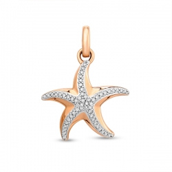 Золотая подвеска Звезда c бриллиантами