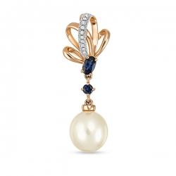 Золотая подвеска c бриллиантами, белым жемчугом и сапфирами Секрет русалки