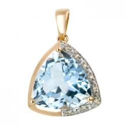 Золотая подвеска c топазом и бриллиантами