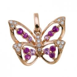 Золотая подвеска c бриллиантами и сапфирами Весенние бабочки