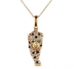 Подвеска из золота 585 пробы с изумрудами и бриллиантами