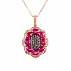 Колье из розового золота 585 пробы с бриллиантами и рубинами
