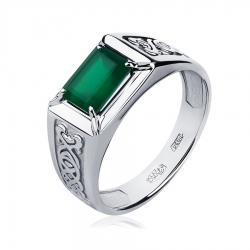 Кольцо из платины с зеленым ониксом