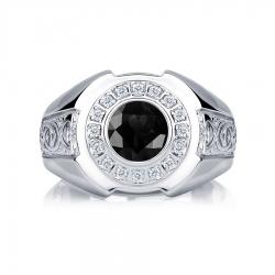 Кольцо из платины с черным и белыми бриллиантами