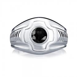 Кольцо из платины с черным бриллиантом