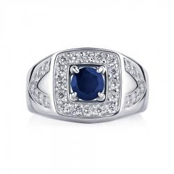 Кольцо из платины с сапфиром и бриллиантами