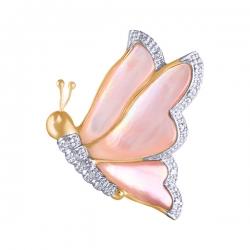 Брошь Бабочка из золота с бриллиантами и перламутром