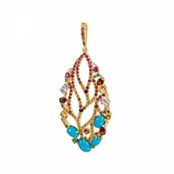 Подвеска из золота с бирюзой, сапфирами, рубинами и цветными камнями