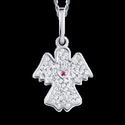 Ангел-хранитель из платины с россыпью бриллиантов и рубином
