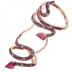Кольцо из розового золота 585 пробы с бриллиантами и рубинами