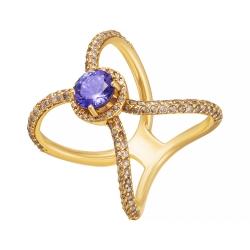 Кольцо из золота 585 пробы с бриллиантами и танзанитом