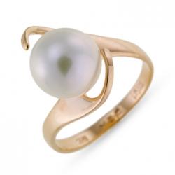 Золотое кольцо c белым жемчугом