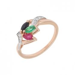 Золотое кольцо c бриллиантами, изумрудом, рубином и сапфиром