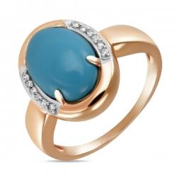 Золотое кольцо c бирюзой и бриллиантами