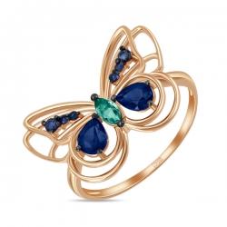 Золотое кольцо «Бабочка» c сапфирами и изумрудом