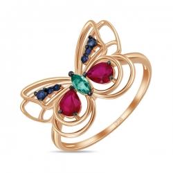 Золотое кольцо Бабочка c изумрудом, рубинами и сапфирами