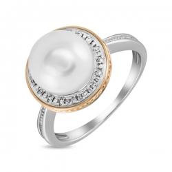 Золотое кольцо c белым жемчугом и бриллиантами