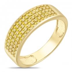 Кольцо из желтого золота c бриллиантами Северное сияние