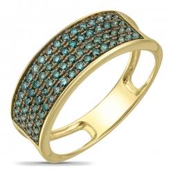 Золотое кольцо c синими бриллиантами Северное сияние