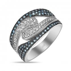 Кольцо из белого золота c синими бриллиантами Северное сияние