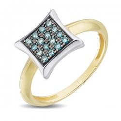 Кольцо из желтого золота c синими бриллиантами Северное сияние