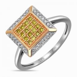 Кольцо из белого золота c бриллиантами Северное сияние