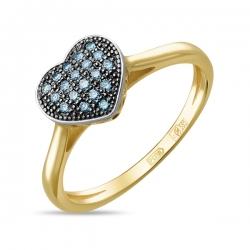 Кольцо с сердцом из желтого золота c синими бриллиантами Северное сияние