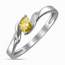 Золотое кольцо c желтыми бриллиантом