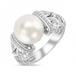 Кольцо из белого золота c бриллиантами, белым жемчугом и сапфирами Драгоценное наследие
