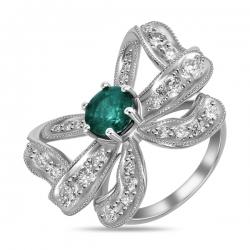 Кольцо Бантик из белого золота c бриллиантами и изумрудом Драгоценное наследие
