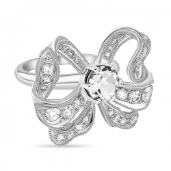 Кольцо Бантик из белого золота c белыми сапфирами Драгоценное наследие