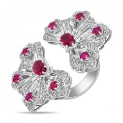 Кольцо Бантики из белого золота c бриллиантами и рубинами Драгоценное наследие