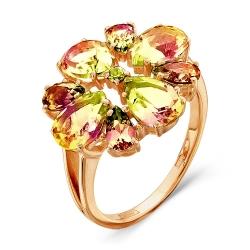 Золотое кольцо Цветок c султанитом