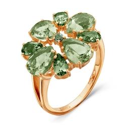 Золотое кольцо Цветок c турмалином