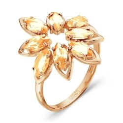 Золотое кольцо Цветок c морганитом