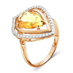 Золотое кольцо c цитрином