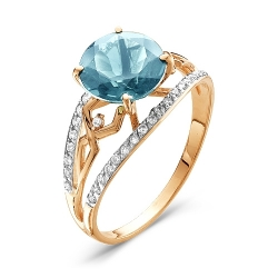 Золотое кольцо c топазом Sky