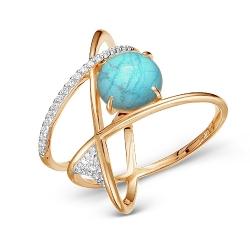 Золотое кольцо Геометрия c бирюзой