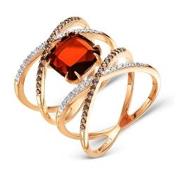 Золотое кольцо Геометрия c гранатом