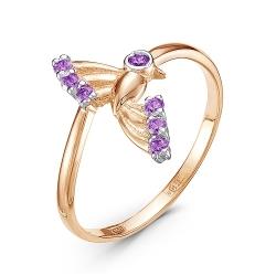 Золотое кольцо Птица c аметистом