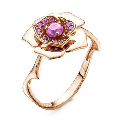 Золотое кольцо Роза c аметистом