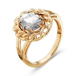 Золотое кольцо Цветок c горным хрусталем