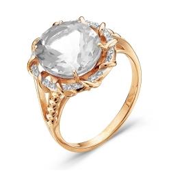 Золотое кольцо c горным хрусталем