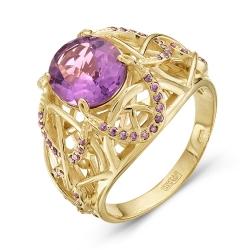 Кольцо из желтого золота c аметистом