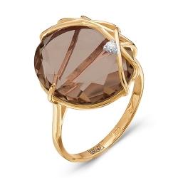 Золотое кольцо c раухтопазом