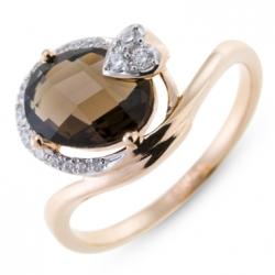 Золотое кольцо c бриллиантами и кварцем Романтика