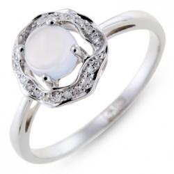 Кольцо из белого золота c халцедоном и бриллиантами
