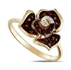Золотое кольцо c бриллиантами и гранатами Цветы