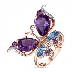 Золотое кольцо c аметистами, топазами и бриллиантами Весенние бабочки