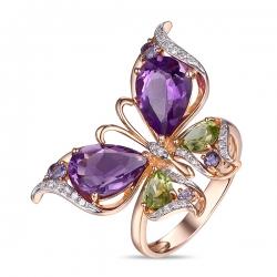 Золотое кольцо c аметистами, бриллиантами, иолитами и перидотами Весенние бабочки